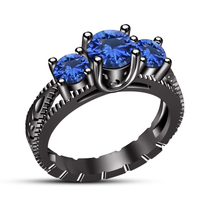 Pure 925 Silver Black Rhodium Finish Blue Sapphire Three Stone Engagemen... - £65.29 GBP