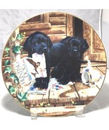 "Black Labrador puppies, collectors fine porcelain plate, By Jim Lamb 8 ½ ""  - $7.87"