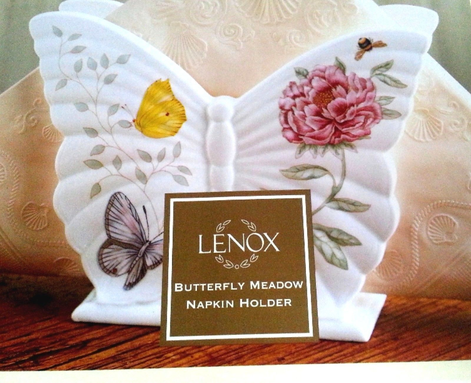 Lenox Butterfly Meadow Napkin Holder Figurine Sculpted Porcelain Gift NEW IN BOX