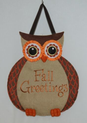FabriCreations 2236 Fall Greetings Fabric Owl Sculpted Appliqued Embroidered