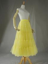 Women Tiered Long Skirt Outfit High Waisted Layered Yellow Tulle Skirt image 7