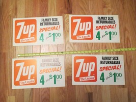 4 Vintage 7up the Uncola Paper Store display signs Advertising  - $15.99