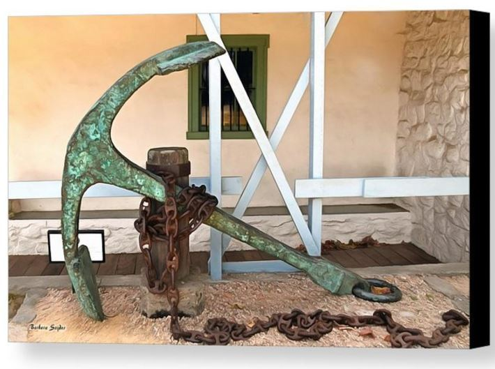 Primary image for Antique Boat Anchor by Barbara Snyder Custom House Plaza Monterey Canvas 24x32