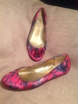 NINE WEST BLUSTERY LEATHER WOMEN'S FLORAL CRANBERRY BLACK & BLUE FLATS 6... - $26.72