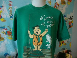 Vintage 90's The Flintstones Fred Flintstone Fishing T Shirt L  - $39.59