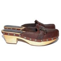 MIU MIU Brown Wood Leather Med Block Heels Mules Round Toe Slip On Shoes Sz US 7 - $238.11