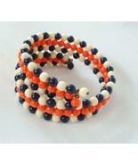 Vintage Plastic Bead Wire Choker Necklace Bracelet 3 row Navy Blue White Coral - $19.79