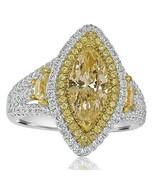 Taglio Marchesa Diamante Giallo 2.66 KT Fidanzamento Anello Halo Split 18k Oro - $6,894.05