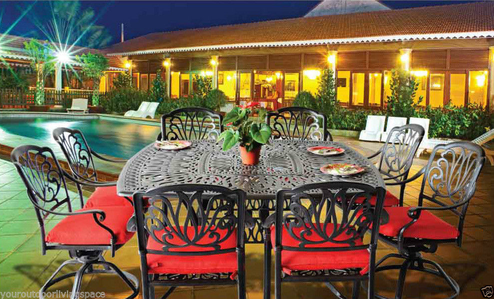 9 piece patio dining set cast aluminum outdoor furniture Elisabeth table seats 8