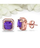 Halo Bridal Filigree Stud Earrings Princess 1.00CT Simulated Diamond & ... - $79.99