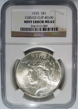 1925 Silver Peace Dollar NGC MS 63 Planchet Rim Clip Mint Error Clipped ... - $209.99