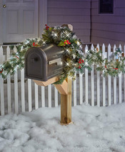 Lighted Mailbox Swag or 9 Ft. Garland Holiday Christmas Outdoor Home Decor - $12.03