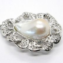 925 STERLING SILVER, PEARL BAROQUE WITH FRAME, FLOWER, MADE IN ITALY image 3