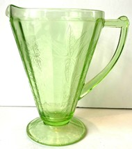 "Jeanette, Green Depression Glass, Poinsettia/Floral Pitcher, 7 1/2"" - $42.75"