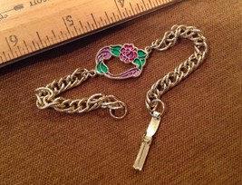 "7.5"" Long Gold Tone Bracelet w Floral Green Pink Purple Enamel Decal - $6.60"