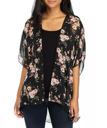 Polly & Esther Juniors' Short-Sleeve Hi-Low Floral Mesh Kimono NWT Large - $9.60