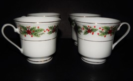 4 Lynns Fine China Hollyberry Tea Cup Christmas Gold Trim Green Red Whit... - $694,99 MXN