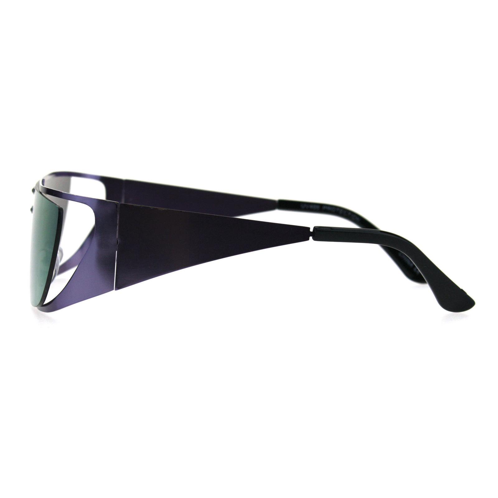 Shield Gothic Robotic Funky Disco Metal Rim Color Mirror Sunglasses