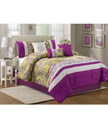 7-P Fionn Paisley Floral Pleated Embroidery Comforter Set Green Purple G... - $86.94