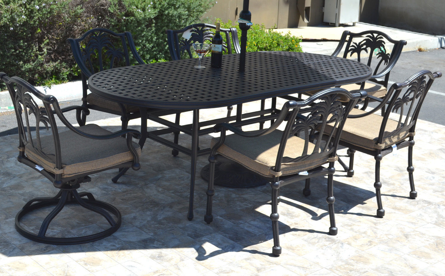 7 piece patio dining set cast aluminum 6 person Tree chairs swivels Nassau table