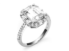 5CT Emerald+Baguette-Round Halo 5A CZ Sterling Silver Engagement Ring-Ve... - $39.99