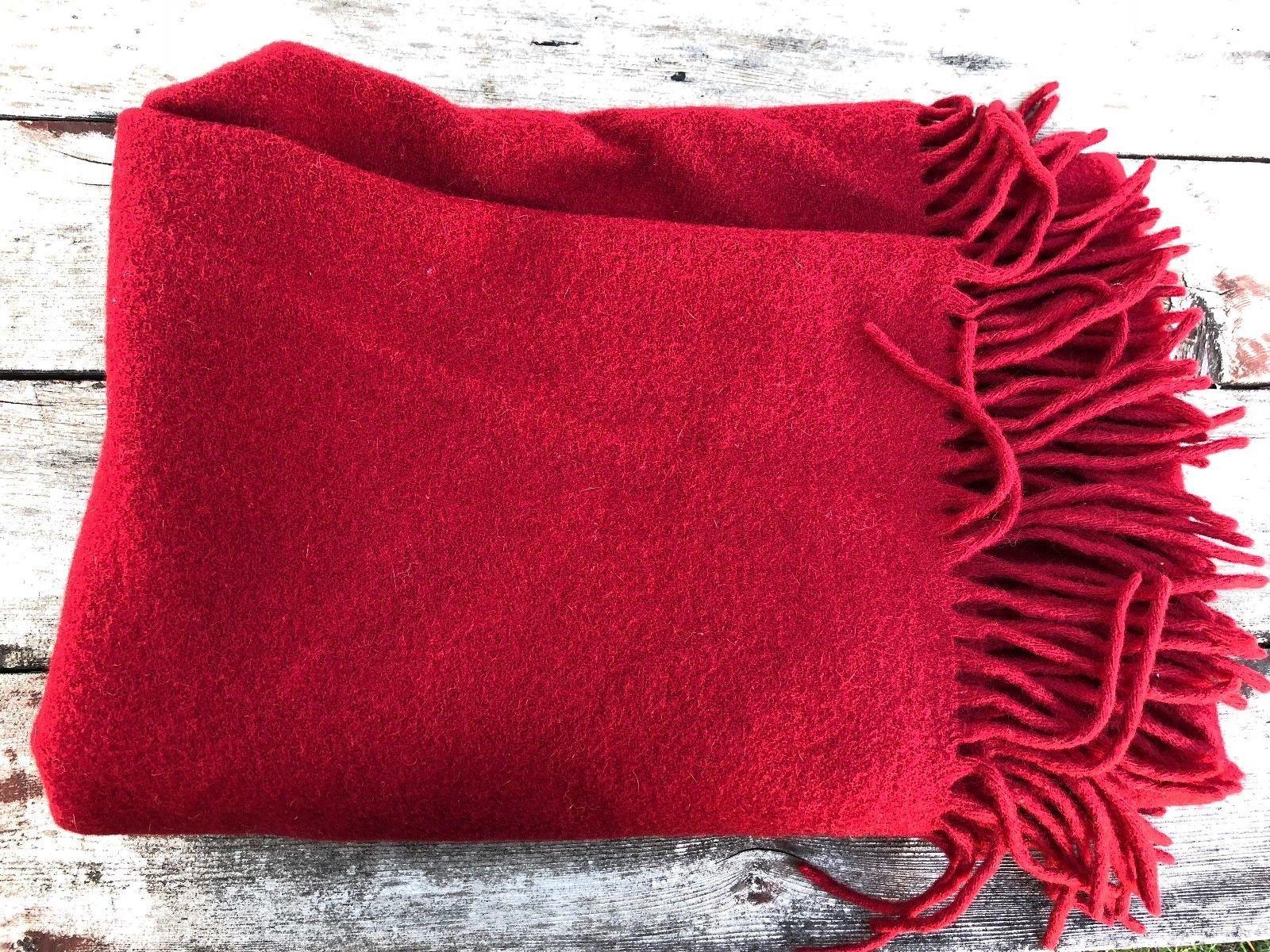 Antique Vintage PENDLETON Masonic Red 100% Virgin Wool Blanket FREEMASONRY
