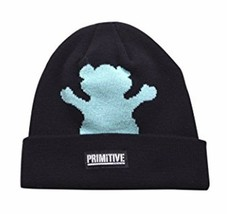 Primitive x Grizzly GripTape Black Teal Bear Fold Cuff Beanie Winter Skate Hat