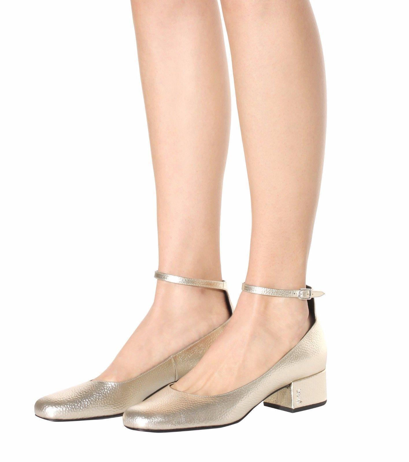 2d873d1360b5 Ysl Saint Laurent Pump Tango Babies Ankle Strap Shoe Logo Low Heel Metallic  37.5