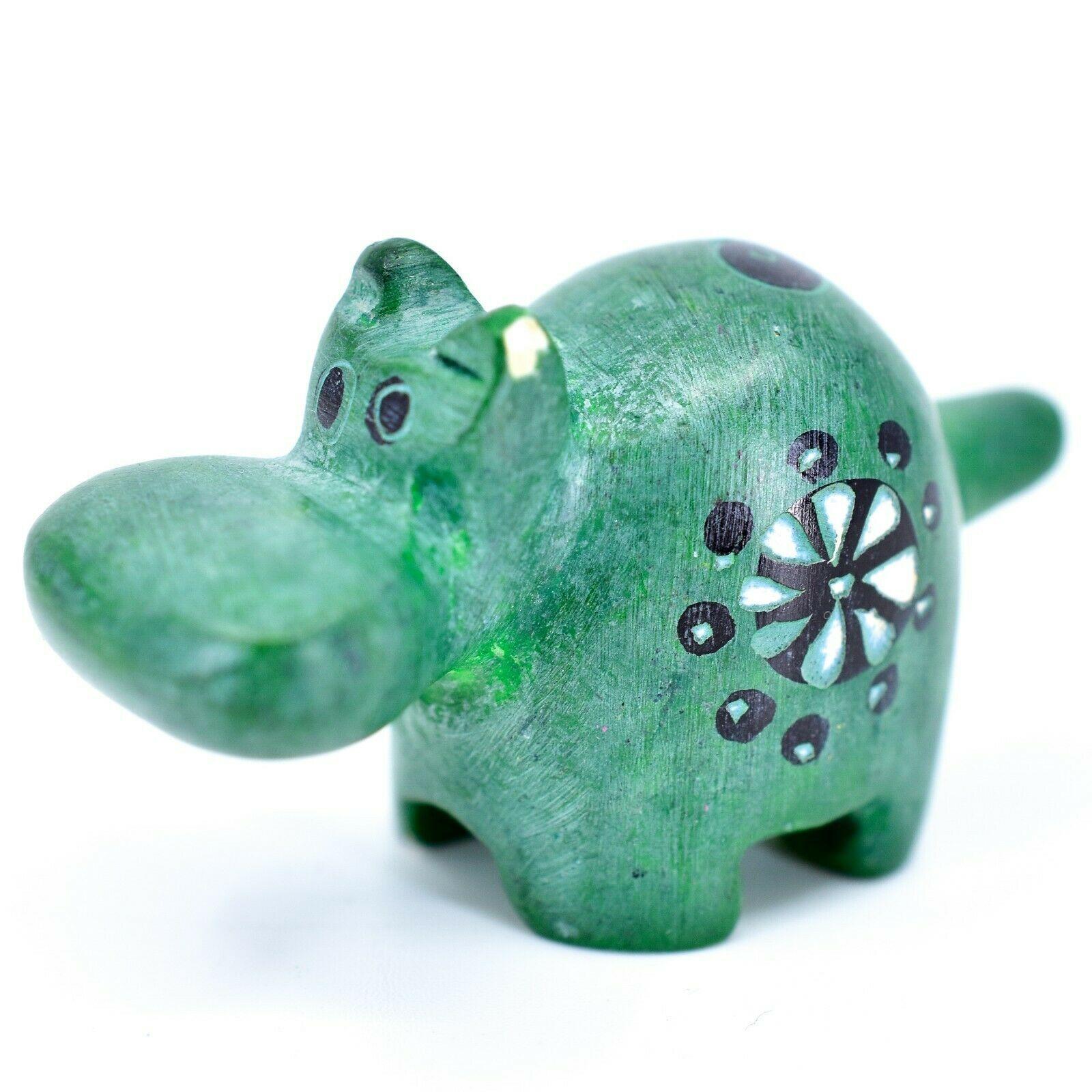 Tabaka Chigware Hand Carved Kisii Soapstone Green Hippopotamus Hippo Mini Figure