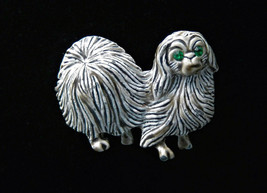 Vintage Gerry's Pomeranian Shih Tzu dog gray white enamel brooch pin rhi... - $9.79