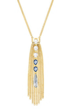Swarovski Crystal Pendant Necklace Gold Medium Gipsy Fringe 5260597 - $69.29