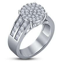 14k White Gold Plated Pure 925 Silver Round Cut Diamond Engagement Women... - $77.89