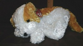 "2002 TY Beanie Buddy 'Darling' Ty Silk Gold and White Puppy Dog 12-14"" Inches - $16.99"
