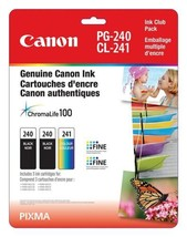 Genuine Canon PG-240 Twin CL-241 Ink Cartrige Club Pack, 2 Black and 1...  - $71.04