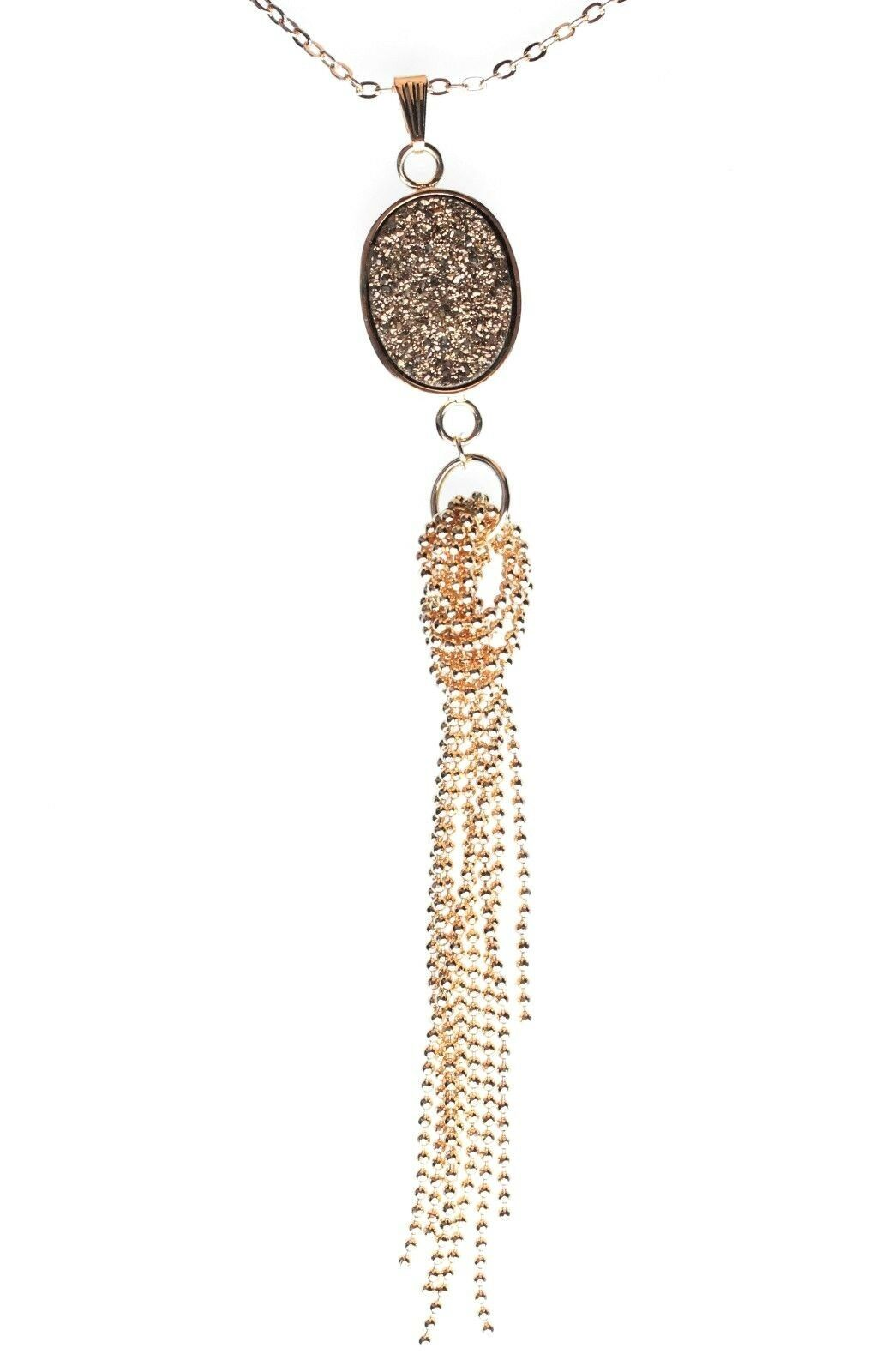 "Elise M 18K Gold Plated 30"" Long Oval Drusy Necklace with Gold Ball Chain Tassel"