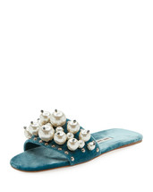 Miu Miu Pearly Velvet Slide Sandals Size 38.5 MSRP: $775.00 - $475.19