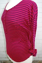 Splendid Striped Henley Knit Top Pink/Navy Stripe Size Large Cotton Roll... - $28.71
