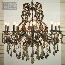 Athena Wood & Iron Chandelier Pendant Light Ceiling Lamp Vintage Home Li... - $885.83