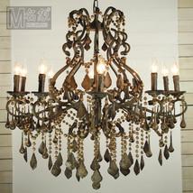 Athena Wood & Iron Chandelier Pendant Light Ceiling Lamp Vintage Home Li... - $885.83