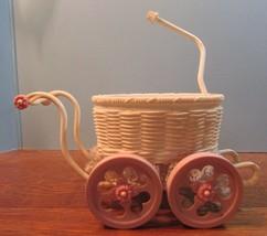 Vintage/Rare  Pink/White  Plastic miniature Baby Doll bassinet stroller - $13.37