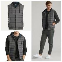 New Polo Ralph Lauren Mens Big & Tall 3XB Gray Herringbone Down Hooded Vest - $161.49