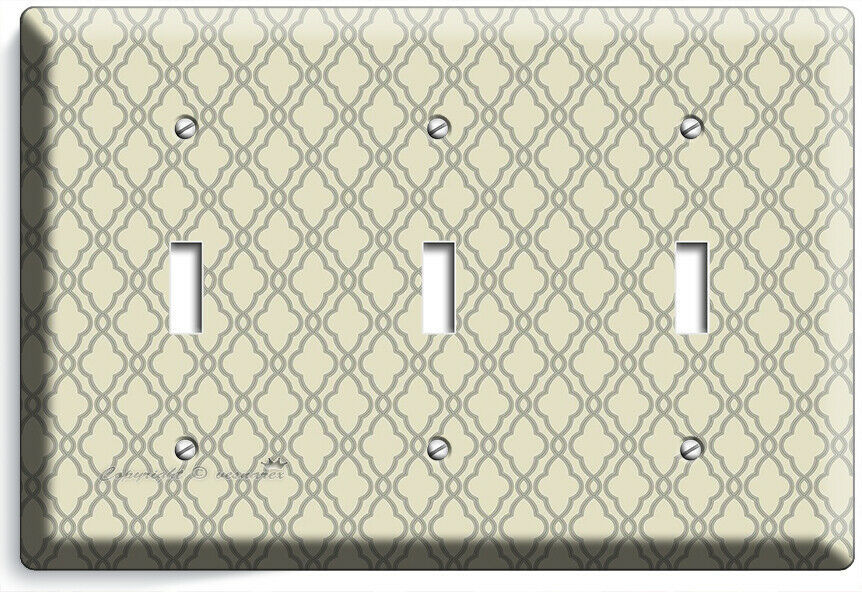 HAMPTON TRELLIS PATTERN 3 GANG LIGHT SWITCH WALL PLATES BEDROOM ROOM HOME DECOR