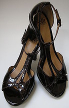 Sofft Shoes Heels T-Strap Peep Toe Brown Patent Womens Size 8 1/2 M - $45.53