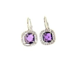 18K WHITE GOLD LEVERBACK EARRINGS CUSHION PURPLE AMETHYST CUBIC ZIRCONIA FRAME image 1