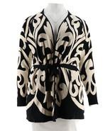 Isaac Mizrahi Adobe Schnörkel Hoher Kragen Jacquard Pullover Mantel Schw... - $70.73
