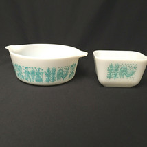 Vintage Pyrex Butterprint Amish White Turquoise Ovenware Made in USA No Lids - $41.58