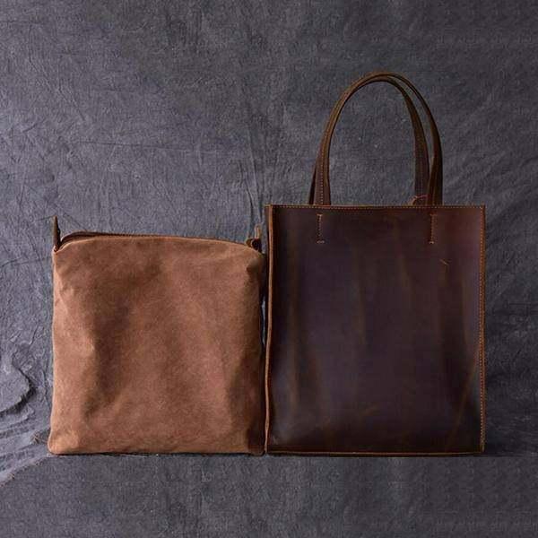 On Sale, Handmade Tote Bag, Horse Leather Shoulder Bag, Leather Shopping Bag image 4