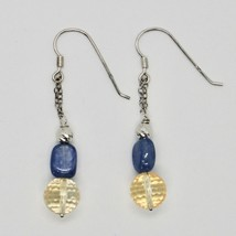 Silver Earrings 925 Rhodium Hanging Quartz Citrine Faceted and Kyanite image 1
