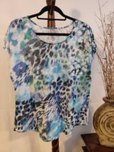 Apt 9 womens XL top multi color blue/green/black/white cap sleeve scoop ... - $12.16