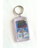 Serenity Prayer key ring plastic with rainbow background and silver cross - $3.00